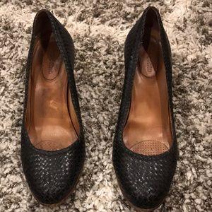 Corso Como Black Leather Woven Heels, 8